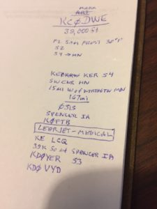DWE flyover notes from logbook Callsigns, cities, etc.